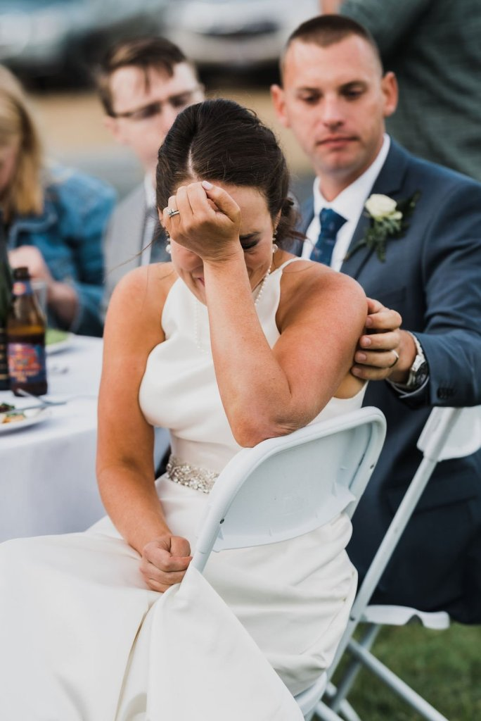 bride crying during maids honor speech