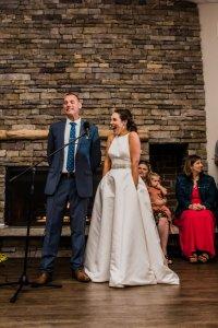 bride and groom speech at wedding reception