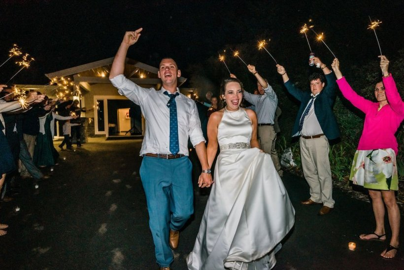 sparkler exit outdoor beach wedding Washington state pacific Northwest wedding