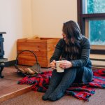 girls weekend camp Huston women's getaway weekend cabin in the mountains fireplace, mug, Pendleton plaid blanket