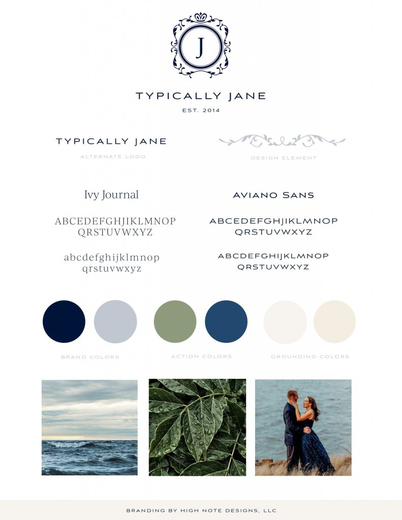 typically jane blog brand buide for lifestyle bloh rebranding and design