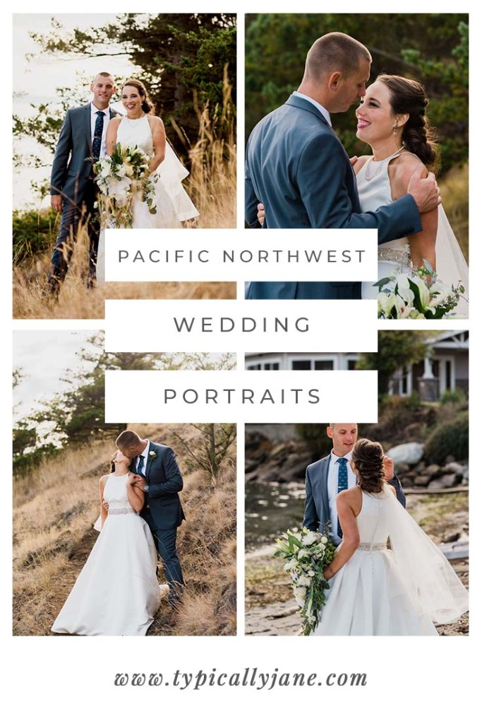 pacific northwest wedding portraits, white green and navy wedding, emerald wedding color