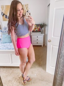 cute athletic stripe hot pink crop top high waisted bikini, surfer style