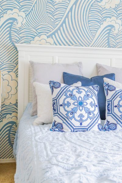 guest bedroom makeover, waves, beach house