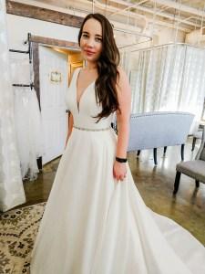 v neck wedding dress, a line wedding dressI Do Bridal Seattle Review