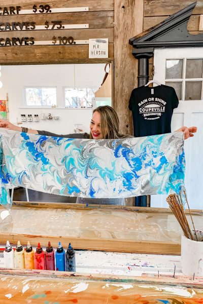 marbley Coupeville wa review DIY marble silk scarf
