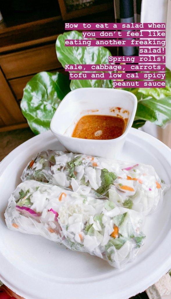 Thai peanut sauce with fresh spring roll, wedding fitness, healthy meal ideas, wedding diet