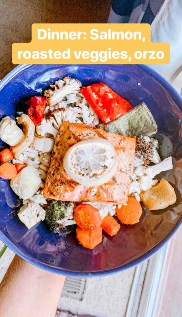 salmon, orzo, roasted vegetables, wedding fitness, healthy meal ideas, wedding diet