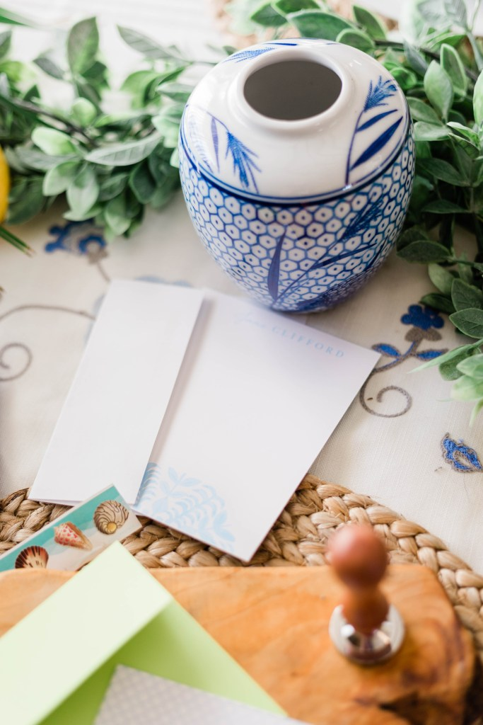 pretty classic sophisticated personalized blue and white stationary