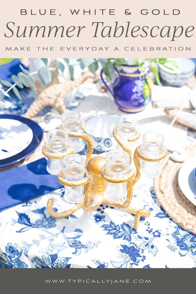 blue white and gold summer tablescape maing everyday a celebration