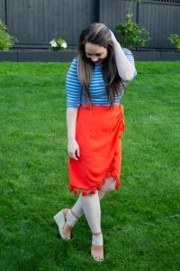 classic striped shirt with sarong style red skirt outfit perfect for summer and vacations
