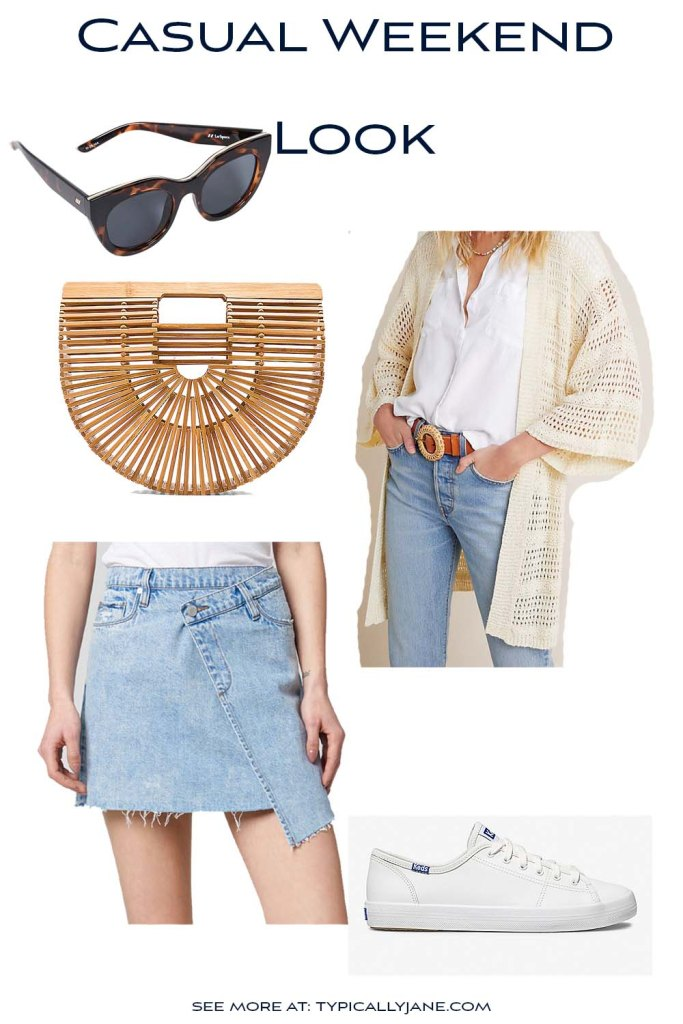 such a cute and casual weekend look for running to the farmer's market or running errands while still looking cute! love this bamboo bag and kimono