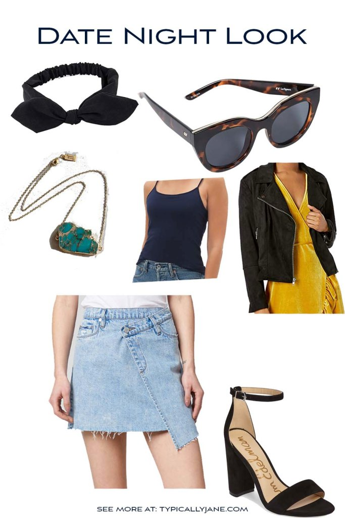 date night outfit idea with denim skirt, Moto jacket, bow headband, and sunglasses for a fashion forward cute look