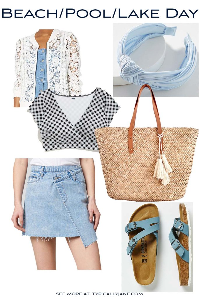 if you're going to the beach, the pool, or the lake for the day here is the perfect cute summer time outfit with crop top swimsuit and denim skirt and straw summer beach bag