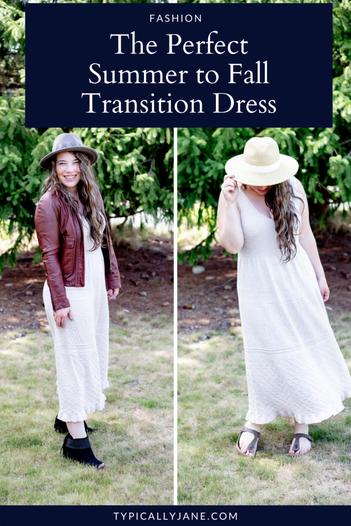 Woman wearing sweater dress two ways, one for summer and one for fall