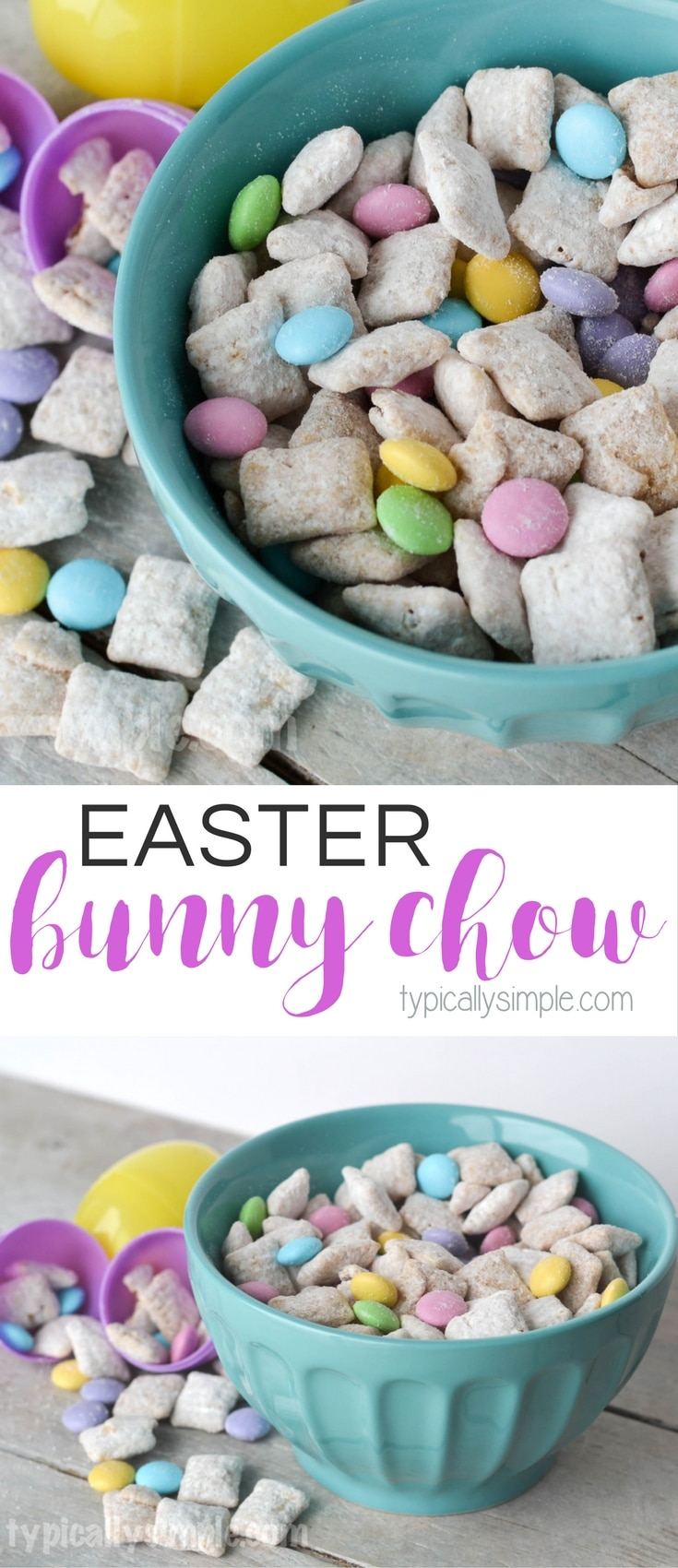 This Easter Bunny Chow recipe is a fun spin on Puppy Chow and makes the perfect treat for Easter or spring!