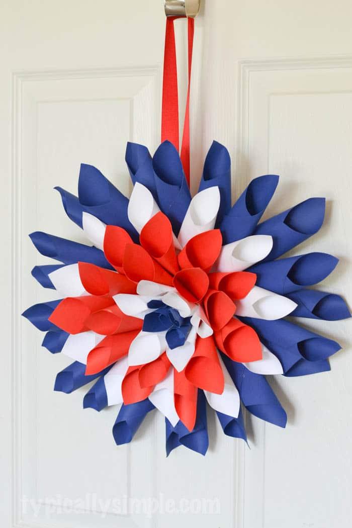 Patriotic Paper Dahlia Wreath