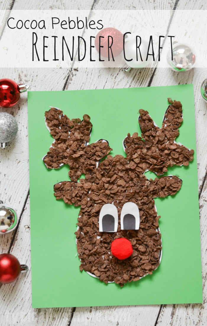 Using Cocoa Pebbles, create this super cute reindeer craft with the kids for Christmas! #CocoaPebbles AD