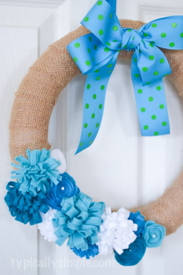 Felt Flower Burlap Wreath-11
