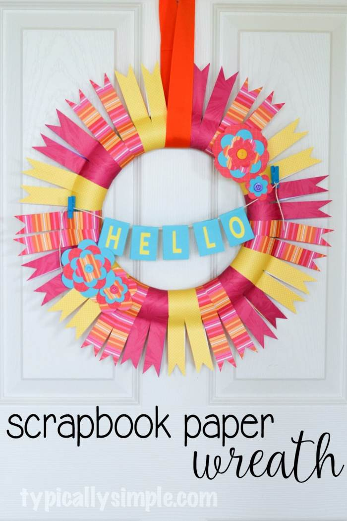 This scrapbook paper wreath is perfect for a Mom's Night Out - Pinterest Party craft project! With just a few supplies, make a fun wreath to hang in your home! #SpringCreations #ad