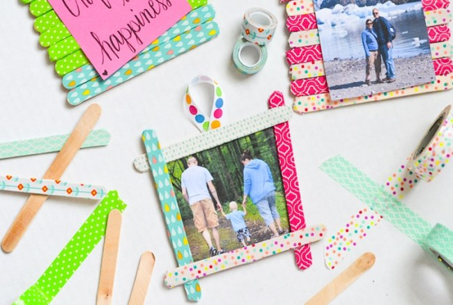 Washi Tape Craft Stick Frames