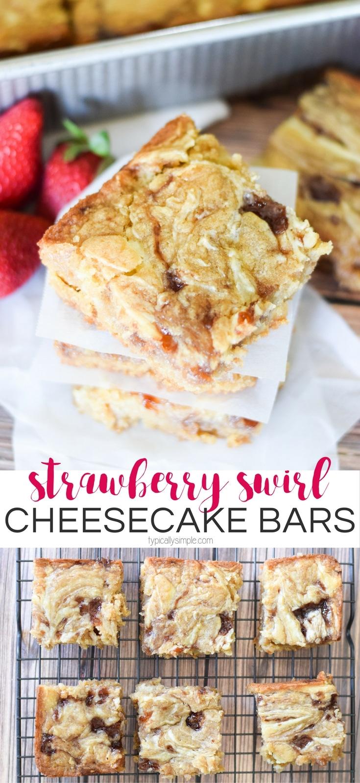 Strawberry Swirl Cheesecake Blondie Bars