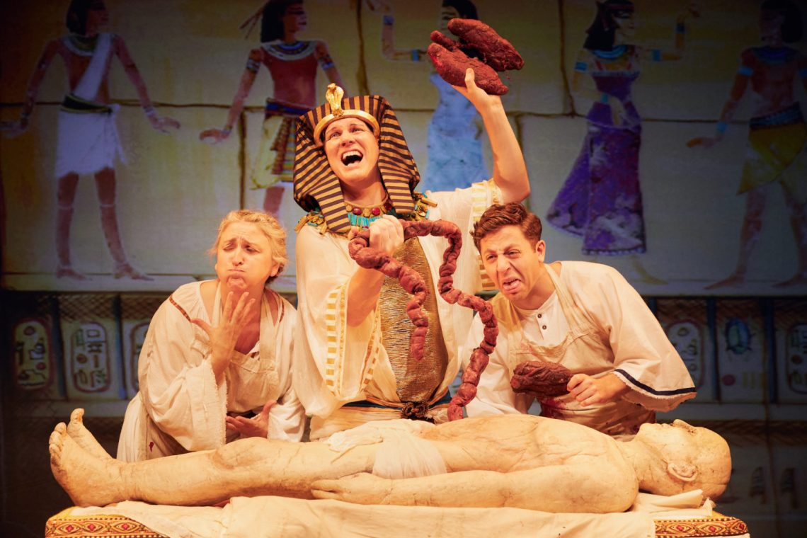 Lisa Allen, Simon Nock and Izaak Cainer in Awful Egyptians by Birmingham Stage Company Photo by Mark Douet