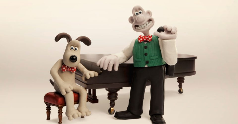 Wallace & Gromit at a piano