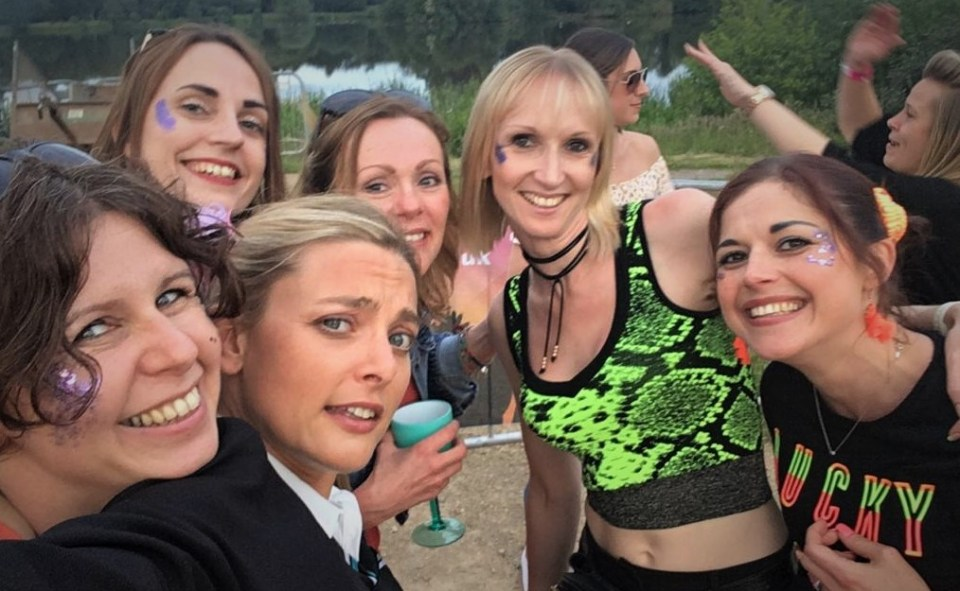 Girls enjoying night out at Absolute 90s concert at Trentham Gardens, Stoke-on-Trent, Staffordshire