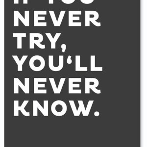 If you Never try, you'll Never know