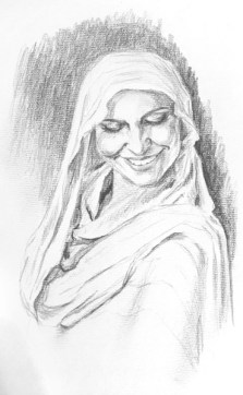 """Veiled Woman Smiling"" - graphite drawing"