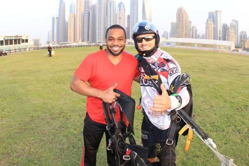 UAE Sky dive dubai Tyrone Smith palm island skydive celebrities