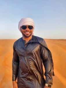 Al Hatta Dessert UAE Dubai with Celebrities muisc producer Tyrone Smith wearing Louis Vuitton and Apple Watch