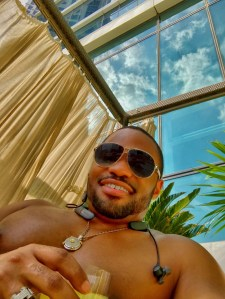 Celebrities sporting Gucci shades music producer Tyrone Smith at Taj in Dubai