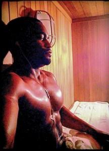 Fitness Sauna capture of celebrity musician producer influencer Tyrone Smith