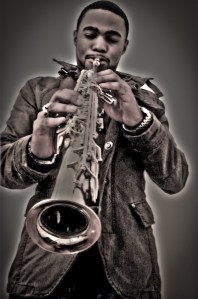 Tyrone Smith captured in G Star Raw playng selmer super action Soprano Sax
