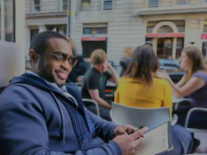 1 person, Tyrone Smith, Marc Jacobs, Union Square, NYC, Blue Water Grill, The Coffee Shop, and sunglasses