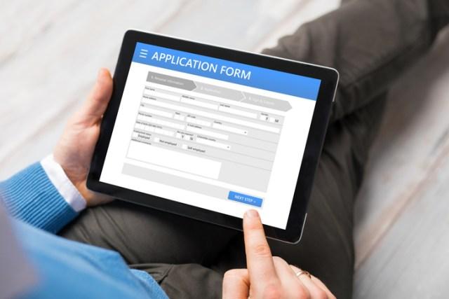 Sample application form on tablet computer