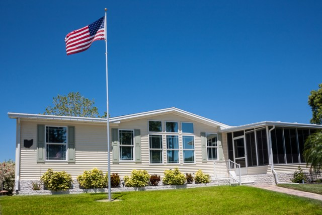 Mobile Home with American Flag