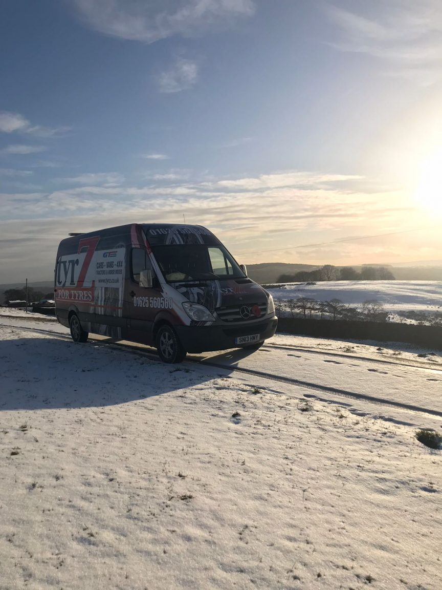 tyrZ van in snow