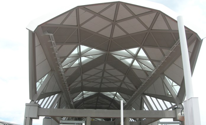 View of the east end of Herndon Metrorail Station with the skylights, vaulted roof and stairs visible. Photo credit: Phil DeLeon.