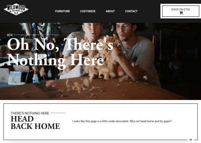 The 404 page for Wildwood Cutoms, one of our 10 best 404 pages.