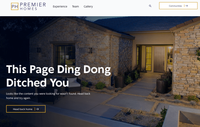 The 404 page for Premier Homes, one of our 10 best 404 pages.