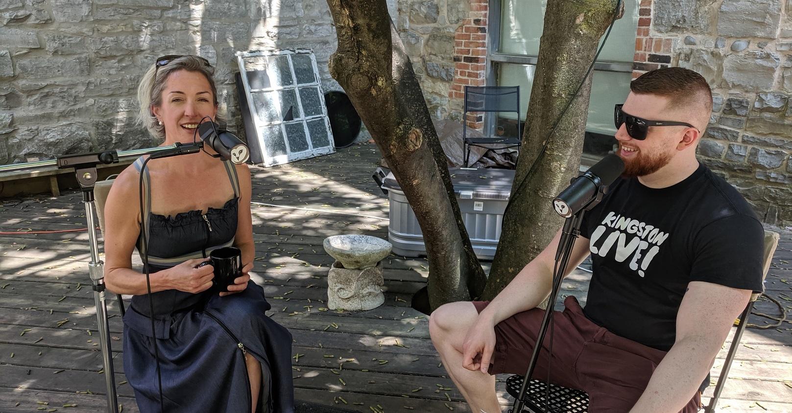 Selina Chiarelli and Riley Jabour in the Musiikki courtyard