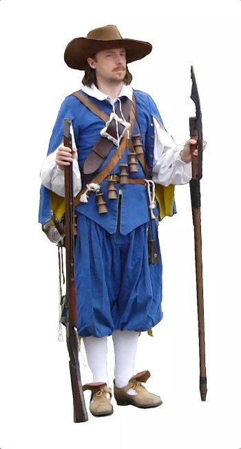 Mężczyzna w błękitnym mundurze muszkietera, w kapeluszu z szerokim rondem, z muszkietem i berdyszem.