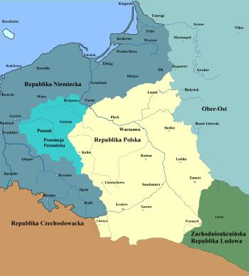 Kontrurowa mapa ziem polskich z zaznaczonymi terytoriami Prowincji Poznańskiej, Republiki Polskiej i państw ościennych.