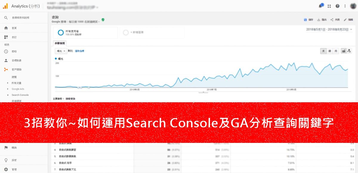 3招教你~如何運用Search Console及GA分析查詢關鍵字