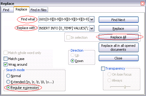 Regular Expression feature in Notepad++ (And some other advance Text Editor)