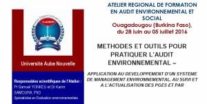 Annonce Atelier Régional de Formation en Audit Environnemental et Social