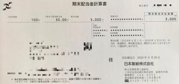 日本製紙の期末配当金計算書(2020年3月期)